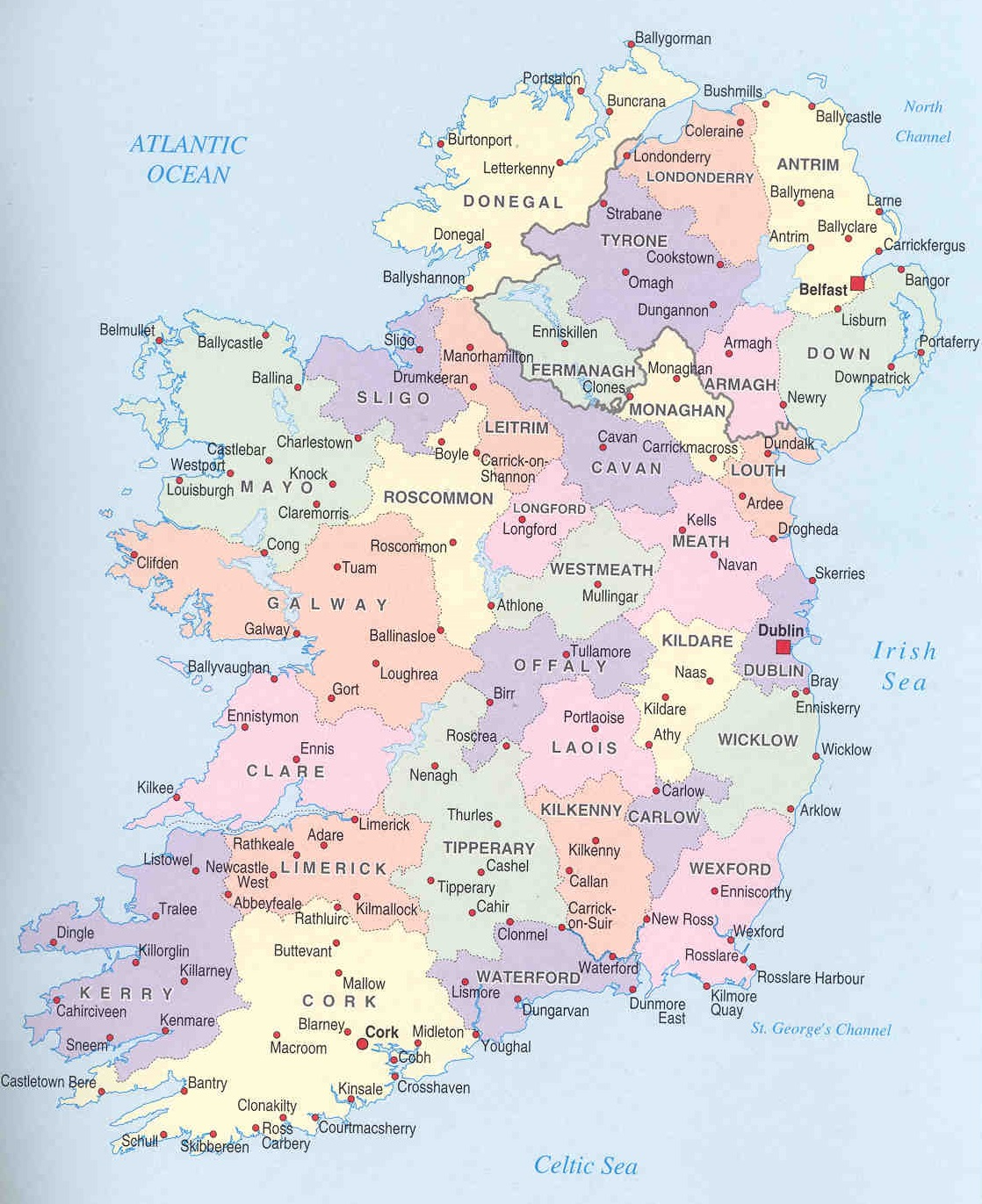 Map Of South Ireland.Map Of Southern Ireland